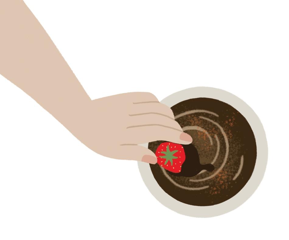 Illustration fraise chocolat de Nina Clauzel