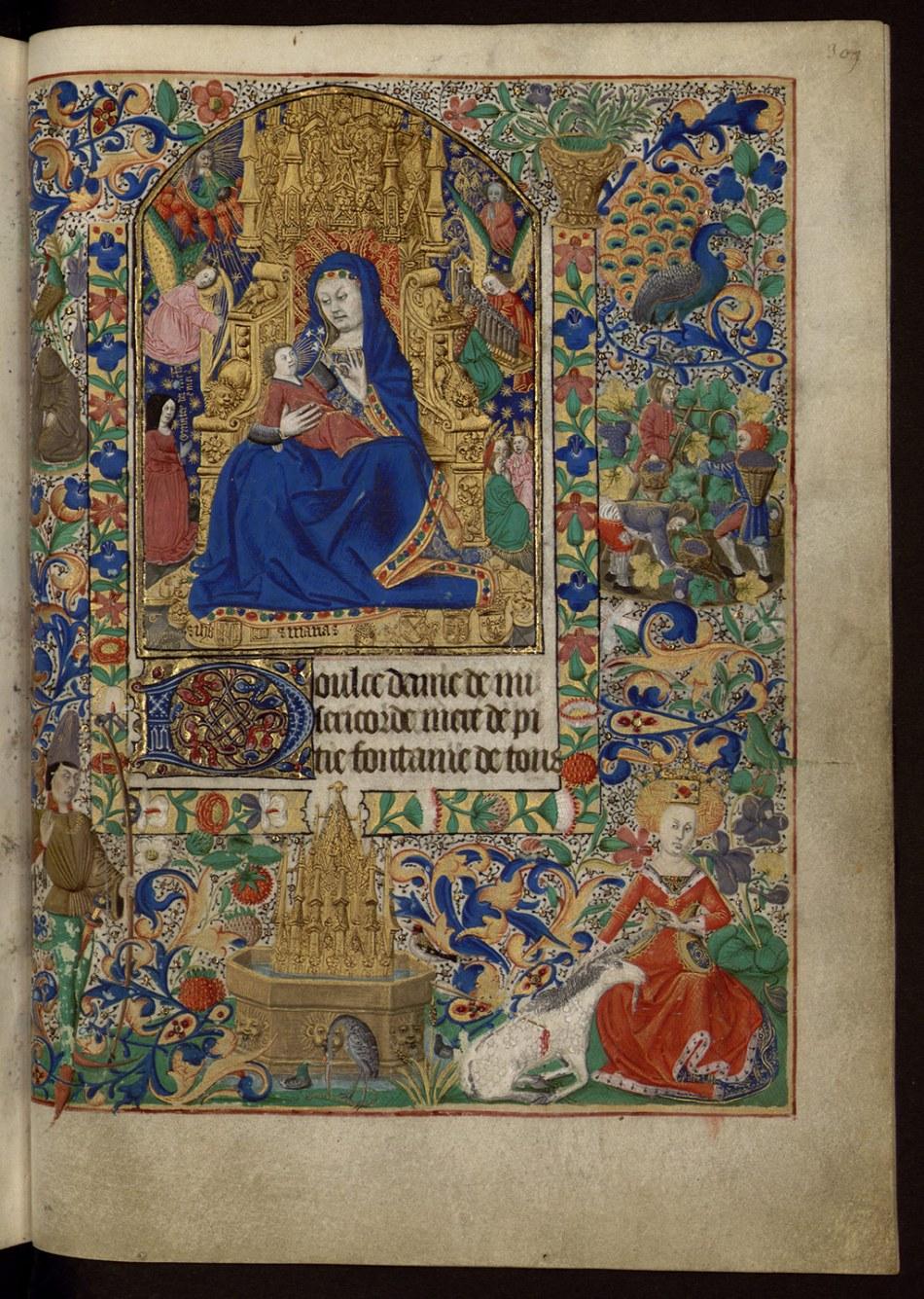 La Vierge et la chasse à la licorne, enluminure sur parchemin